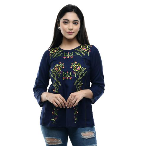 MAAHI - Women's Rayon Navy Blue Colored Embroidery Top