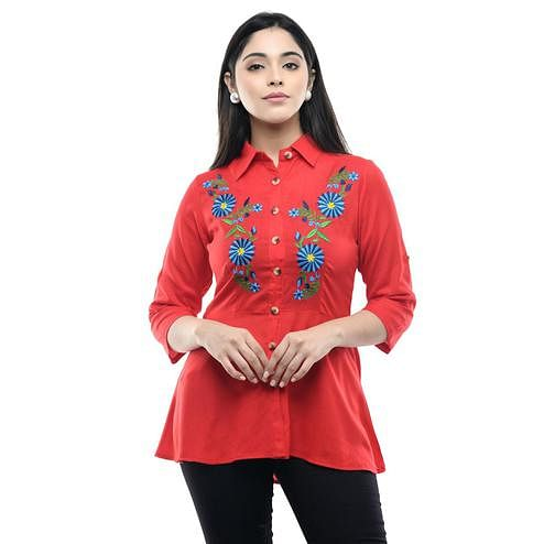 MAAHI - Women's Rayon Red Colored Embroidery Top