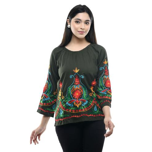 MAAHI - Women's Rayon Olive Colored Embroidery Top
