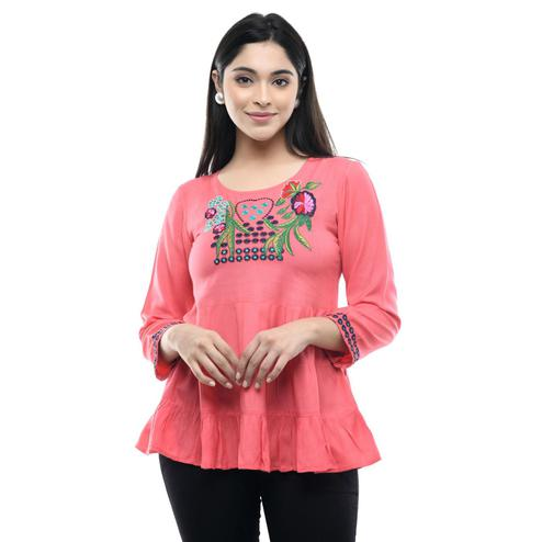 MAAHI - Women's Rayon Pink Colored Embroidery Top