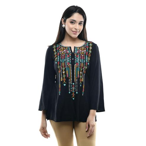 MAAHI - Women's Rayon Black Colored Embroidery Top