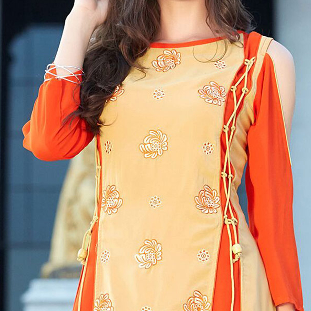Classy Beige-Orange Designer Partywear Embroidered Georgette Kurti