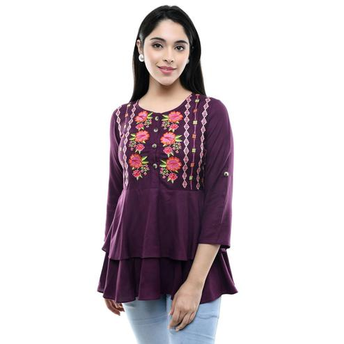MAAHI - Women's Rayon Wine Colored Embroidery Top