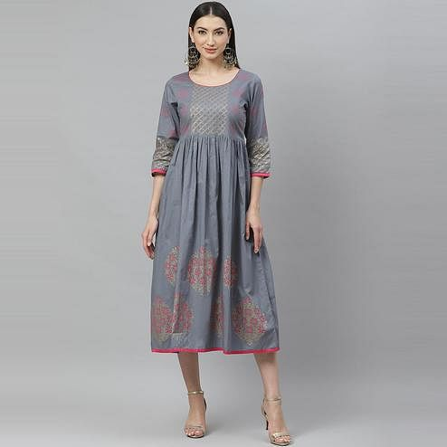 Myshka - Women's Grey Cotton Printed 3/4 Sleeve Round Neck Casual Dress