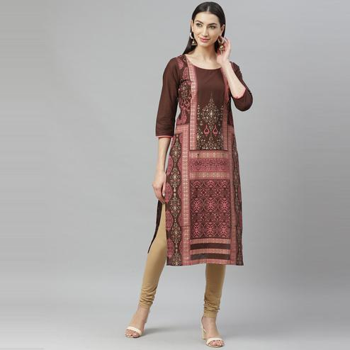 Myshka - Women's Maroon Cotton Printed 3/4 Sleeve Round Neck Casual Kurti