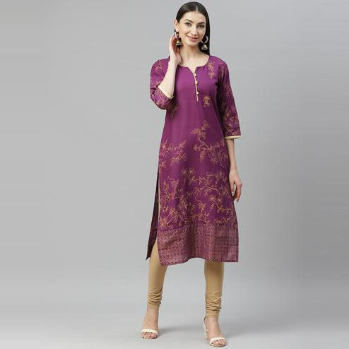 Myshka - Women's Purple Cotton Printed  3/4 Sleeve Round Neck Casual Kurti