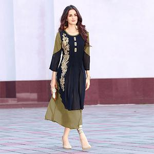 Attractive Navy Blue-Green Colored Designer Partywear Embroidered Georgette Kurti