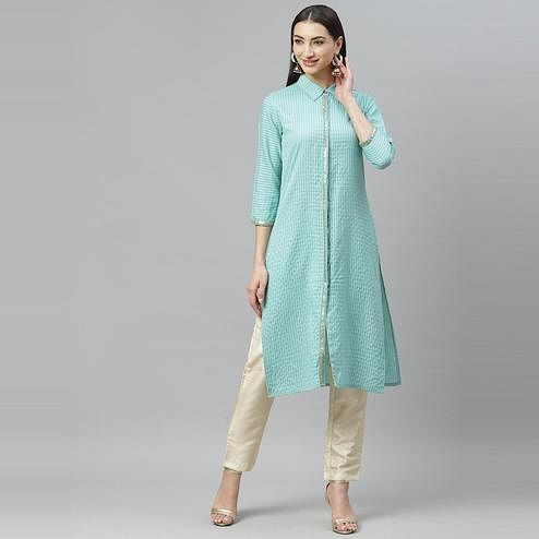 Myshka - Women's Aqua Green Cotton 3/4 Sleeve Shirt Collar Casual Kurti