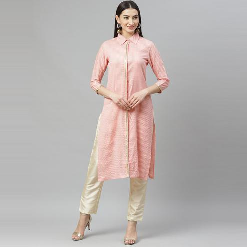 Myshka - Women's Pink Cotton 3/4 Sleeve Shirt Collar Casual Kurti