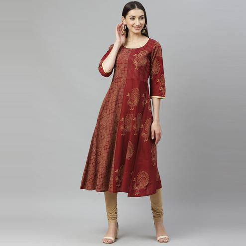 Myshka - Women's Maroon Cotton Printed  3/4 Sleeve Round Neck Casual Anarkali Kurti
