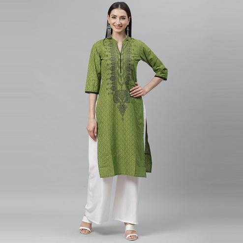 Myshka - Women's Green Cotton Printed  3/4 Sleeve Mandrin Neck Casual Kurti