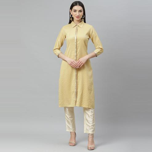 Myshka - Women's Yellow Cotton Check  3/4 Sleeve Shirt Collar Casual Kurti