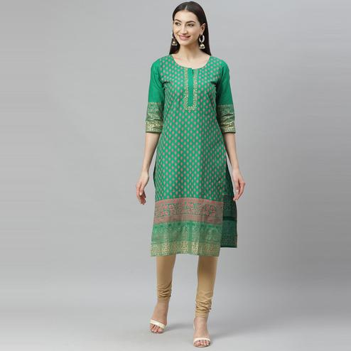 Myshka - Women's Green Cotton Printed  3/4 Sleeve Round Neck Casual Kurti