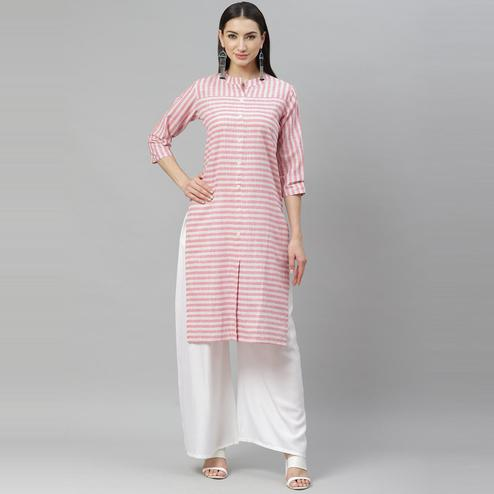 Myshka - Women's Pink Cotton 3/4 Sleeve Mandrin Neck Casual Kurti