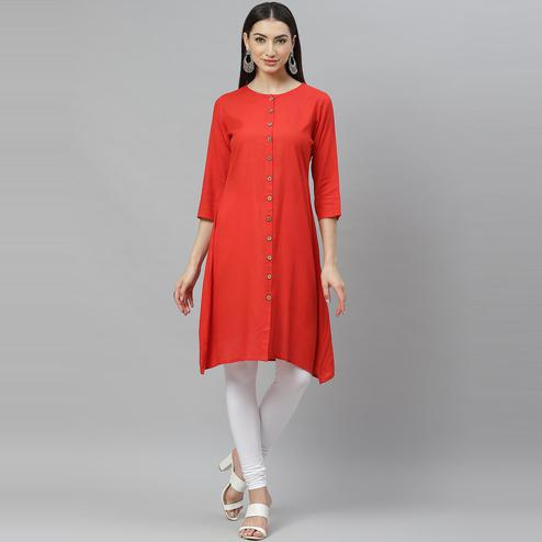 Myshka - Women's Red Cotton Solid  3/4 Sleeve Round Neck Casual Kurti