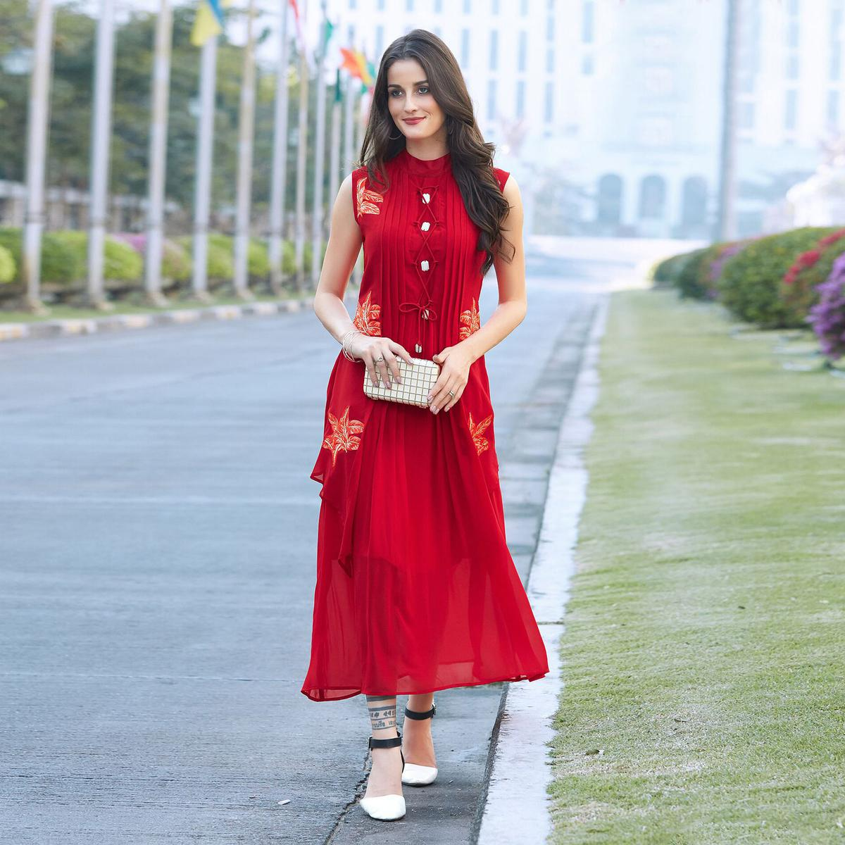 8f129a183 Buy Ravishing Red Designer Partywear Embroidered Georgette Kurti online  India