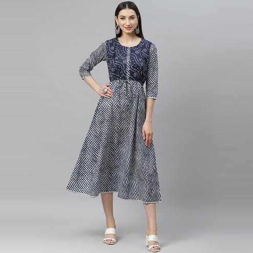 Myshka - Women's Blue Cotton Printed  3/4 Sleeve Round Neck Casual Dress