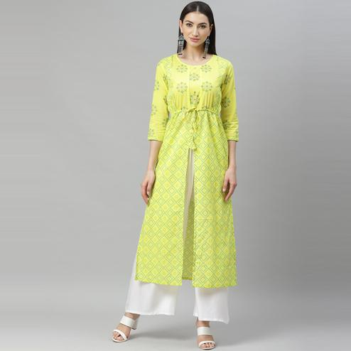 Myshka - Women's Yellow Cotton Printed  3/4 Sleeve Round Neck Casual Kurti