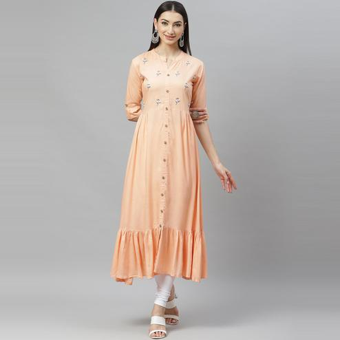 Myshka - Women's Peach Rayon Embroidred  3/4 Sleeve Collar Casual Kurti