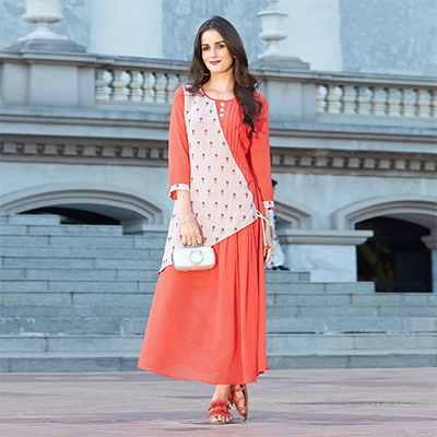 Elegant Peach Colored Designer Partywear Embroidered Georgette Kurti