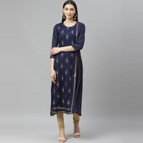 Myshka - Women's Navy Blue Rayon Gold Print Printed  3/4 Sleeve Round Neck Casual Kurti