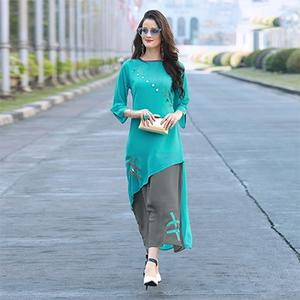 Stylish Teal Blue-Gray Colored Designer Partywear Embroidered Georgette Kurti