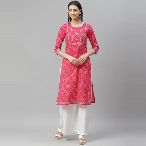 Myshka - Women's Pink Cotton Printed Printed  3/4 Sleeve Round Neck Casual Kurti