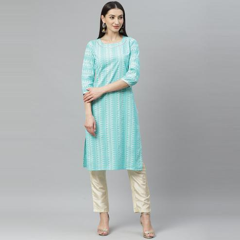 Myshka - Women's Blue Cotton Printed  3/4 Sleeve Round Neck Casual Kurti