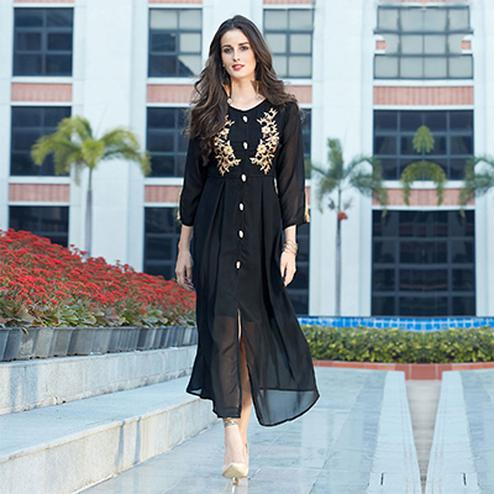 Charming Black Designer Partywear Embroidered Georgette Kurti