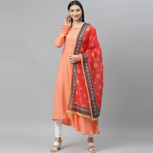 Myshka - Women's Peach Cotton Solid  Full Sleeve Round Neck Casual Anarkali Kurti  With Dupatta