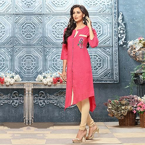 Trendy Pink Designer Partywear Embroidered Cotton Kurti