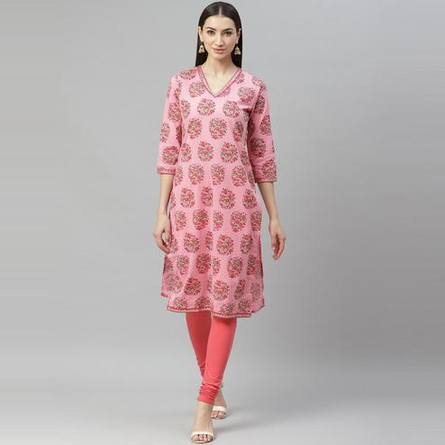 Myshka - Women's Pink Cotton Printed  3/4 Sleeve Round Neck Casual Kurti