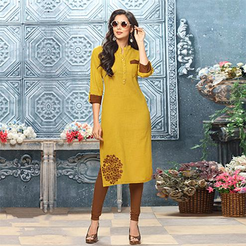 Beautiful Yellow Colored Designer Partywear Embroidered Cotton Kurti