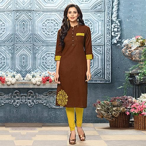 Graceful Brown Designer Partywear Embroidered Cotton Kurti