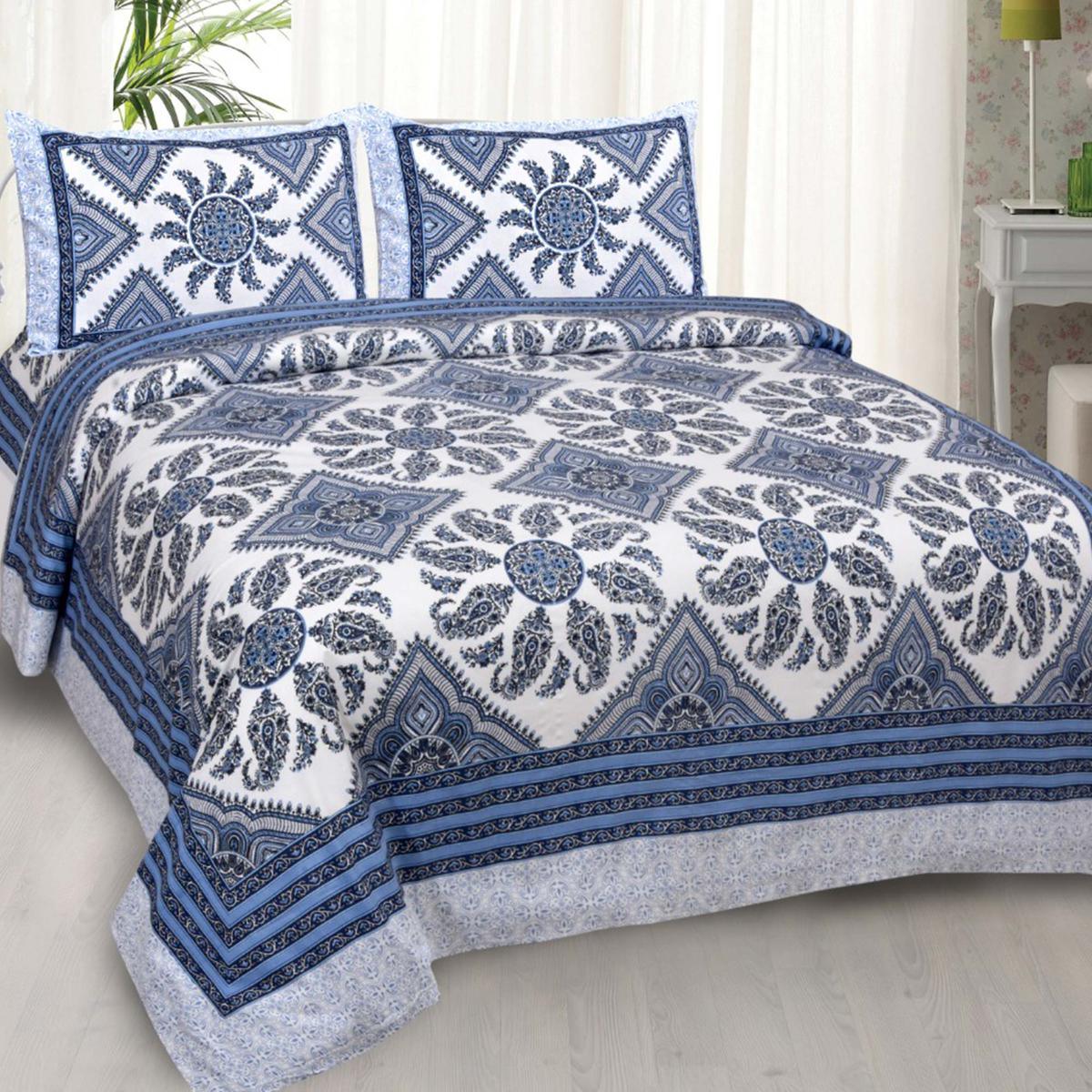 Imposing Blue Colored Folk Design Cotton Double Bedsheet With 2 Pillow Cover