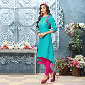 Classy Turquoise Colored Designer Partywear Embroidered Cotton Kurti