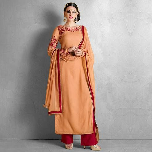 NAKKASHI - Desirable Orange Colored Party Wear Embroidered Georgette Palzzo Suit