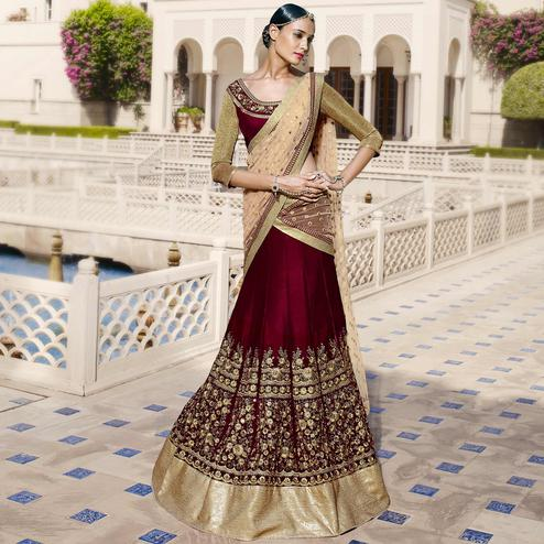 NAKKASHI - Maroon Colored Party Wear Embroidered Velvet Lehenga Choli