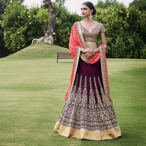NAKKASHI - Wine Colored Party Wear Embroidered Bhagalpuri Silk Lehenga Choli