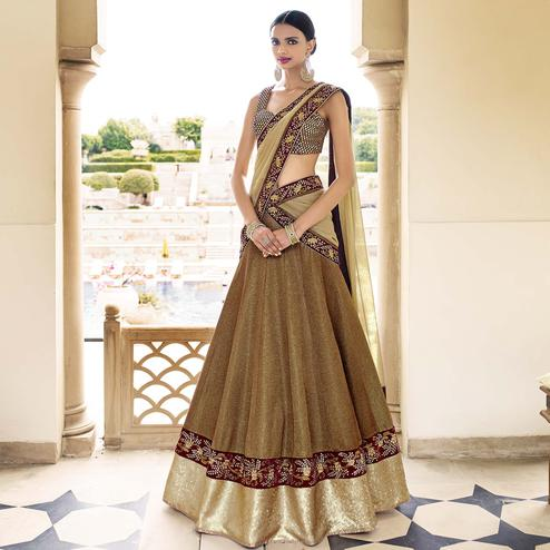 NAKKASHI - Light Brown Colored Party Wear Embroidered Polyester Lehenga Choli