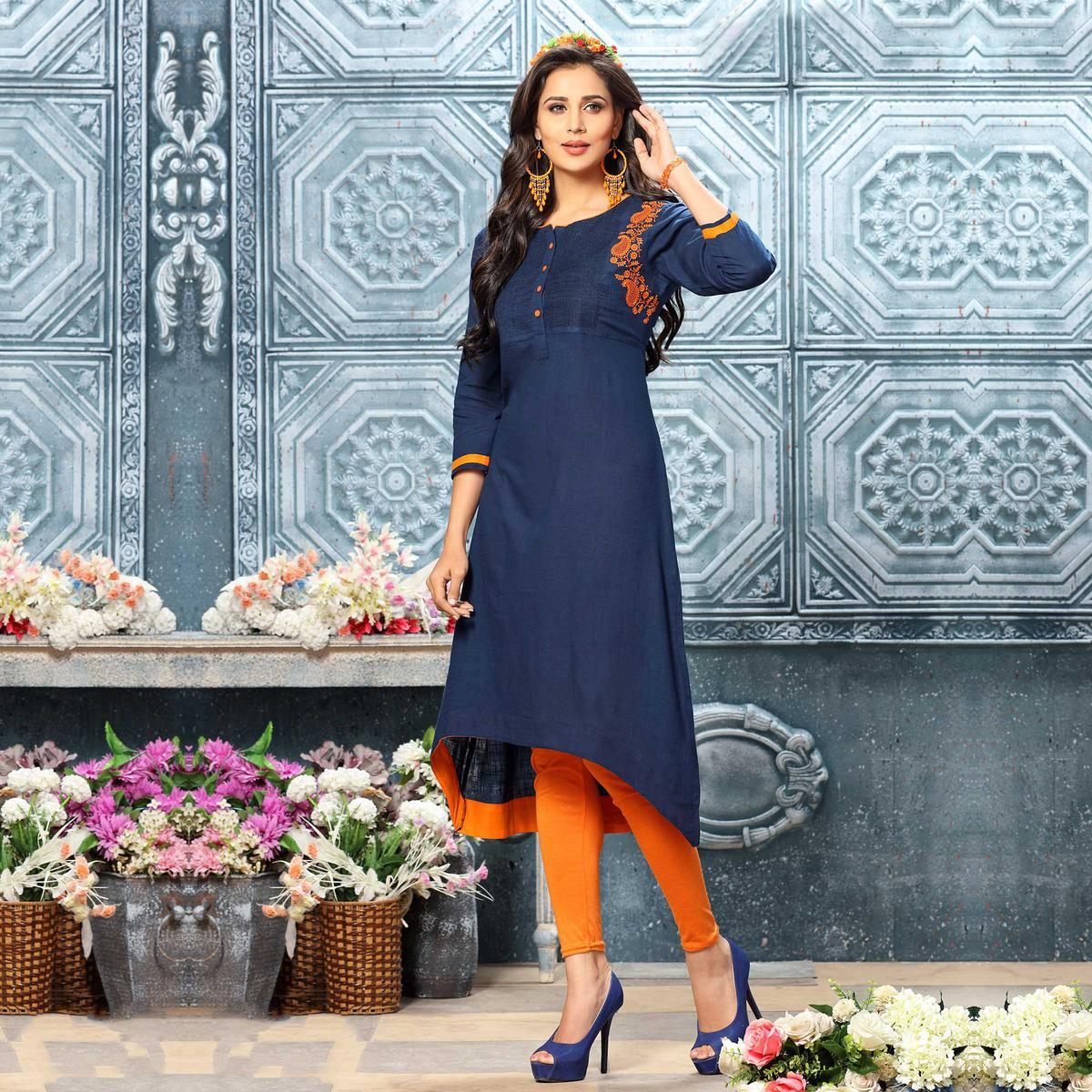 Attractive Navy Blue Colored Designer Partywear Embroidered Cotton Kurti
