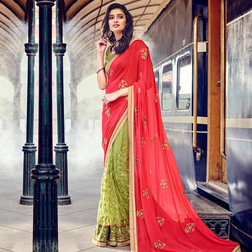 NAKKASHI - Red-Green Colored Party Wear Embroidered Georgette-Net Half & Half Saree