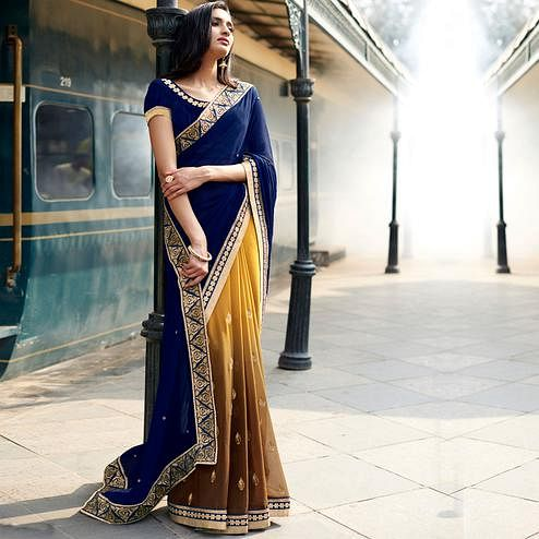 NAKKASHI - Blue-Beige Colored Party Wear Embroidered Georgette Half & Half Saree