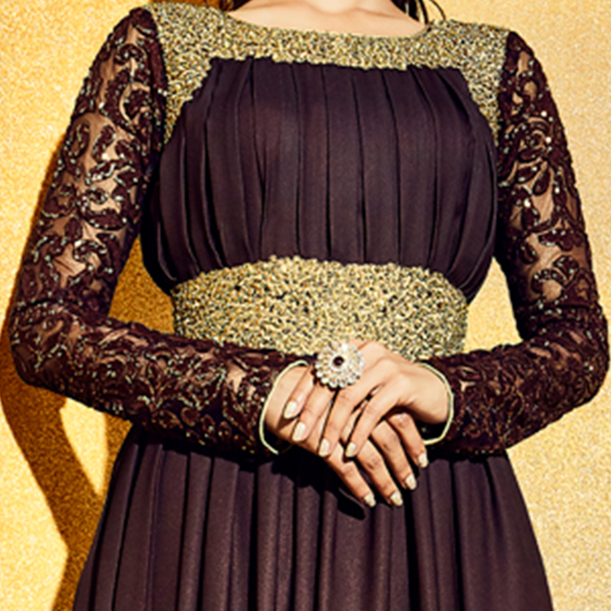 NAKKASHI - Brown Colored Party Wear Embroidered Georgette Anarkali Suit