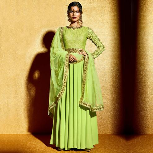 NAKKASHI - Green Colored Party Wear Embroidered Georgette Anarkali Suit