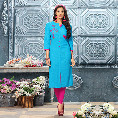 Charming Blue Designer Partywear Embroidered Cotton Kurti