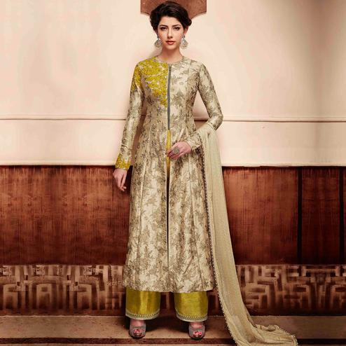 NAKKASHI - Beige Colored Party Wear Embroidered Handloom Silk Palazzo Suit