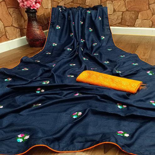 Glorious Navy Blue Colored Partywear Embroidered Dola Silk Saree