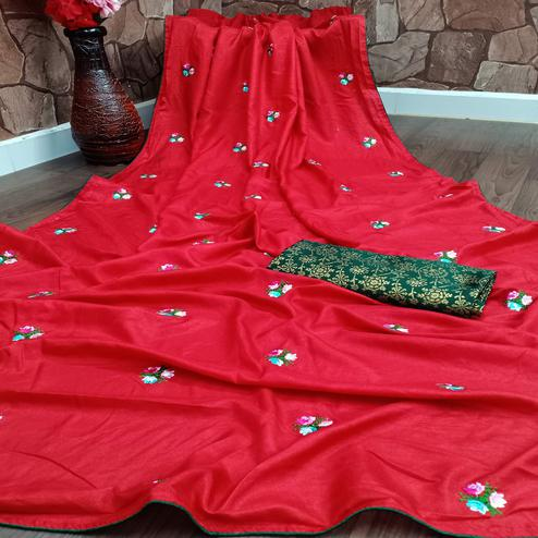 Beautiful Red Colored Partywear Embroidered Dola Silk Saree