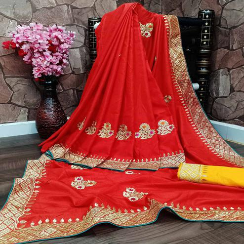 Graceful Red Colored Festive Wear Woven Dola Silk Saree